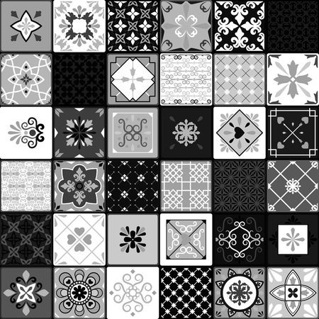 interior decoration: Black and white modern ceramic tiles vector illustration