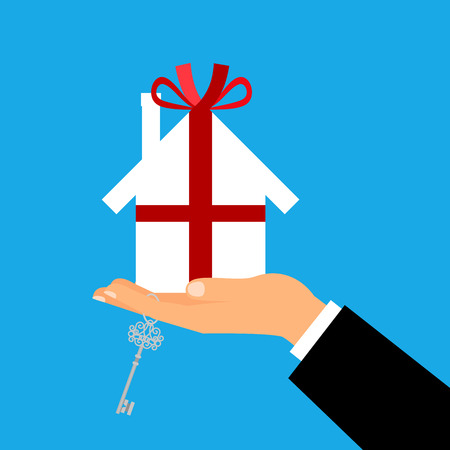 Man holding a white paper house as a gift wrapped with ribbon and bow. Vector illustration