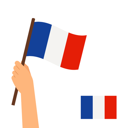 raise the white flag: Human hand holding flag of France country isolated on white background. Vector illustration