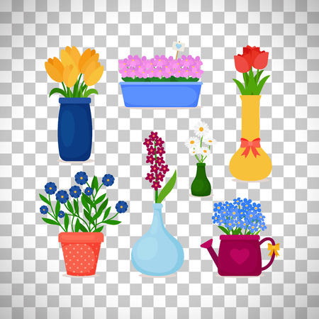 Spring flowers in pots and flower in vase set isolated on transparent background.