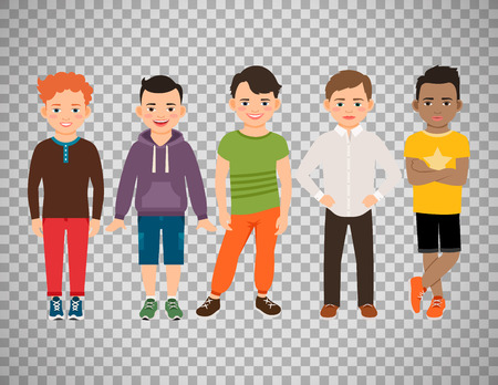 hair style: Cute little boys characters isolated on transparent background.
