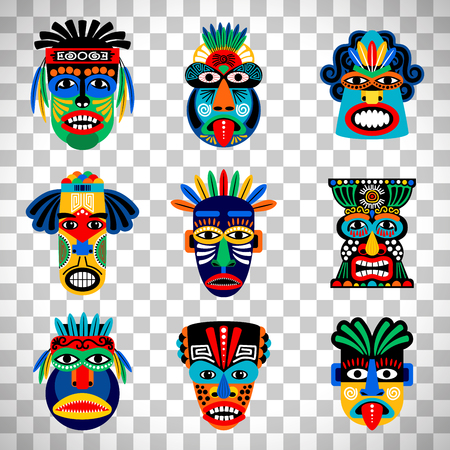 Zulu or aztec mask vector icons. Illustration