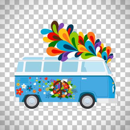 평화로운 배경에 고립 된 히피 버스 또는 평화 반