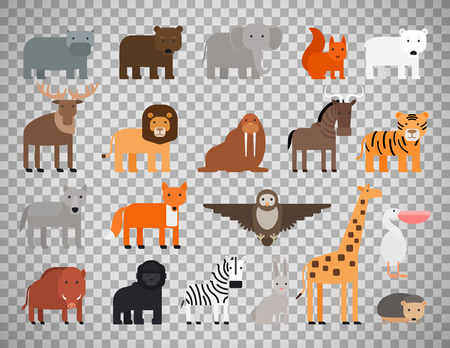 Zoo animals flat colorful icons isolated on transparent background.