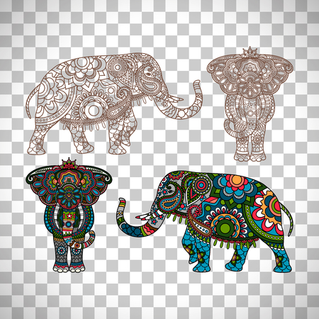 투명 한 배경에 고립 된 장식 된 인도 코끼리 일러스트