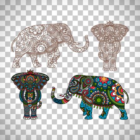 Decorated Indian elephant isolated on transparent background Illustration