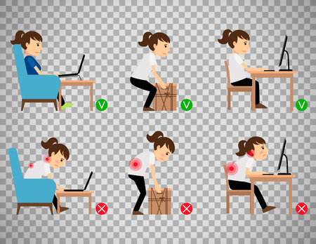 Woman cartoon character sitting and working correct and incorrect postures.