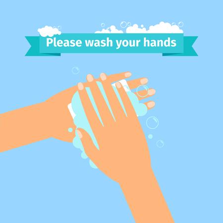 Bitte waschen Sie Ihre Hände Desinfektion Konzept. Standard-Bild - 84424096