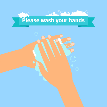 Please wash your hands disinfection concept. Illustration