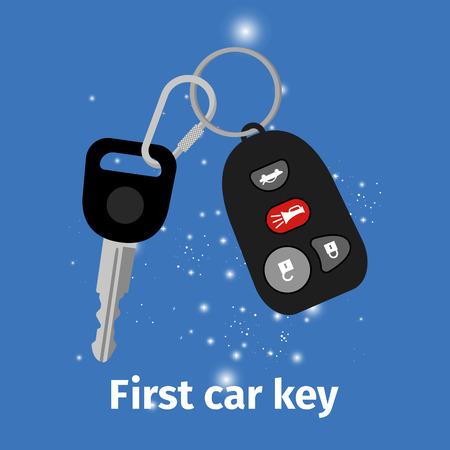 First car key with key holder Illustration