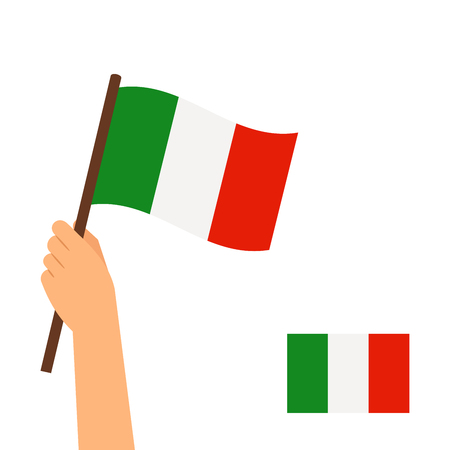 raise the white flag: Human hand holding a flag of Italy country