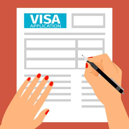Frau Hände Ausfüllen eines Visums. Standard-Bild - 84424162