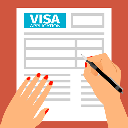 Woman hands filling out a visa application.