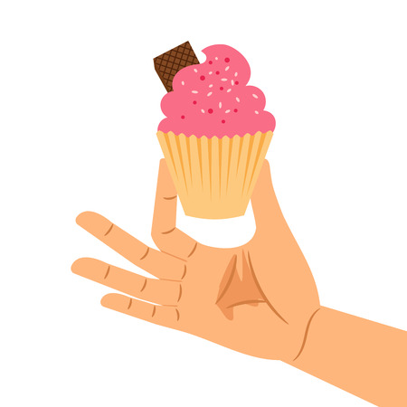 sprinkle: Hand holding pastry pink cupcake