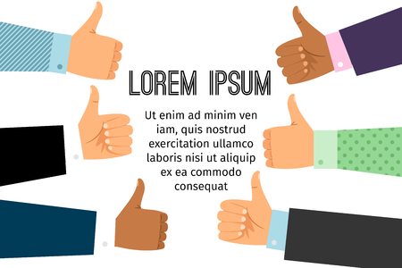 Different people hands with thumb up signs. Hands with like gesture vector background