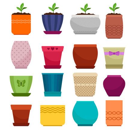 벡터 화분 및 정원사 및 꽃집 중소 기업에 대 한 흰색 배경에 고립 된 민족 간단한 꽃병 컬렉션