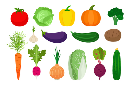 Vegetables flat icons set on white background. Vector illustration 向量圖像