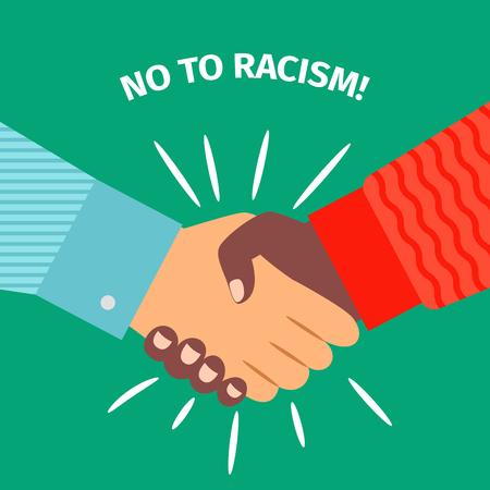 Nee tegen racisme. Handdruk zakenman overeenkomst, vector illustratie Stockfoto - 84909695