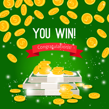 Regnen Sie Münzen und Zeichen, die Sie auf grünem Hintergrund, Vektorillustration gewinnen Vektorgrafik