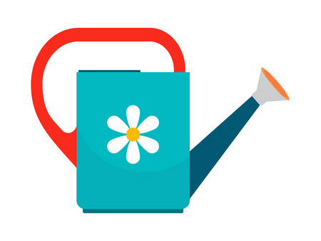 Watering can colorful icon on white background. Vector illustration