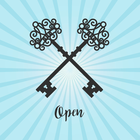house logo: Vintage crossed keys silhouette on blue background with text open, vector illustration Illustration