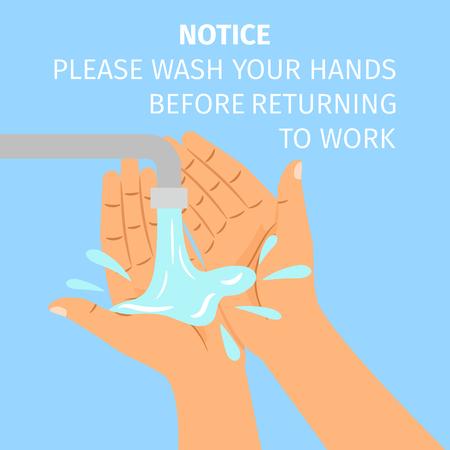 消毒の概念。蛇口の下に手を洗う男。ベクトル図