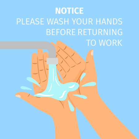 Disinfection concept. Man washing hands under the tap. Vector illustration
