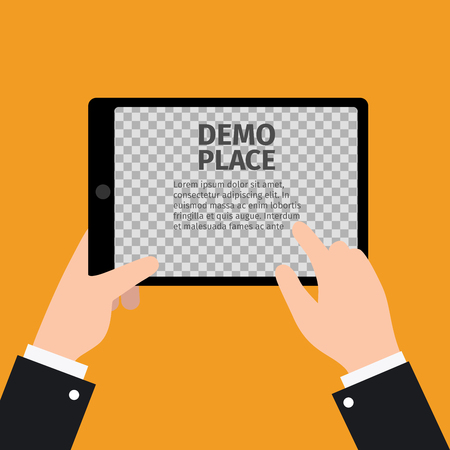 electronic background: Black tablet in hand with transparent background for your design, vector illustration