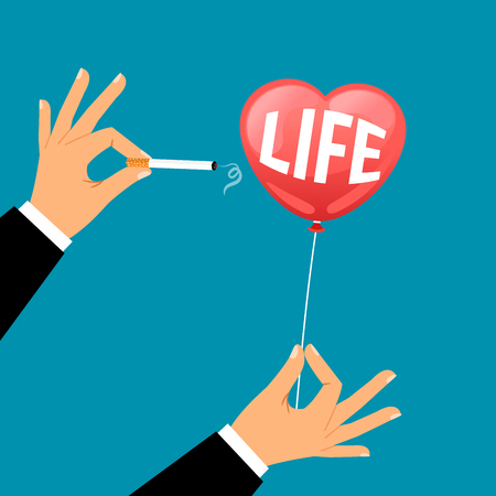 unhealthy thoughts: Businessman hand with a cigarette busts a balloon with the word life, vector illustration