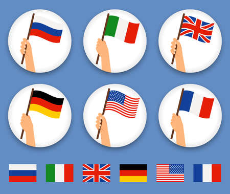 raise the white flag: Flag in hand round icons set. Human hands holding flags of different countries, vector illustration