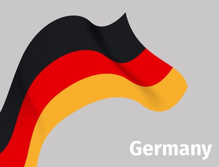 Background with Germany wavy flag on grey, vector illustration