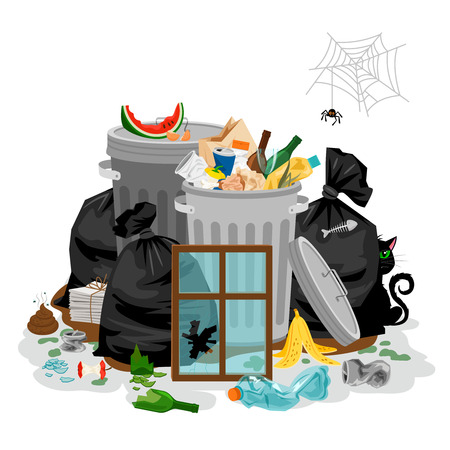 Pile of garbage isolated in white. Littering waste concept with with organic and household rubbish and trash vector illustration