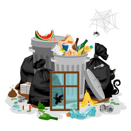 Tas de déchets isolé en blanc. Déchets de déchet concept avec des déchets organiques et ordures ménagères et illustration vectorielle