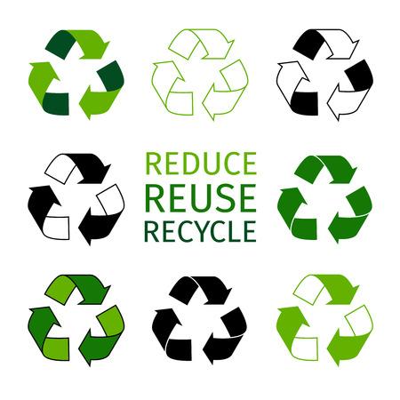 Réduire la réutilisation du jeu de logos de recyclage. Les flèches vertes recyclent les symboles éco. Icônes vectorielles de matériaux recyclés