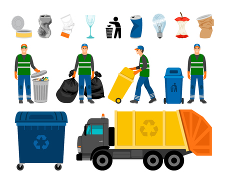 Scavengery, trash and garbage colored icons. Trash truck and garbage can, scavenger and household waste vector icon set