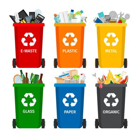Trash in garbage cans with sorted garbage vector icons. Recycling garbage separation collection and recycled isolated on white background Ilustração