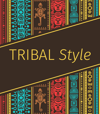 Tribal style design in brown colors, vector illustration Vettoriali