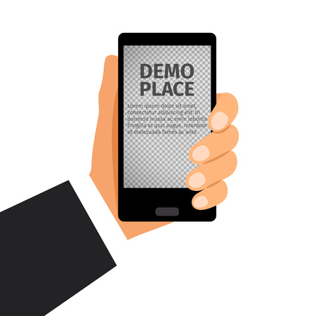 device: Black smartphone in hand with transparent background for your design, vector illustration