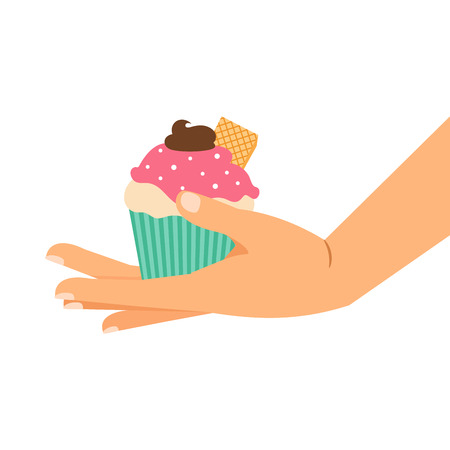 Cupcake with wafer and chocolate cream. Hand holding cupcake, isolated vector illustration