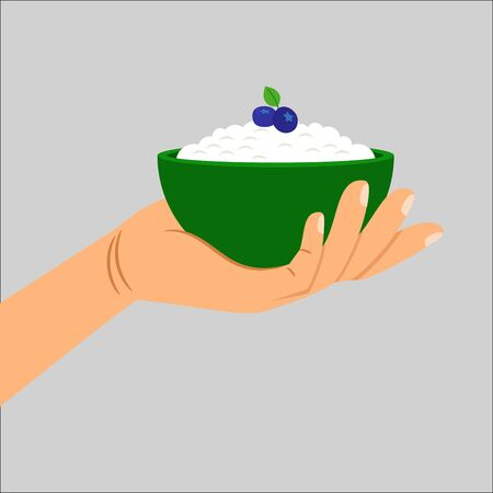 vacas lecheras: Hand holding cottage cheese with berry, healthy food isolated vector illustration
