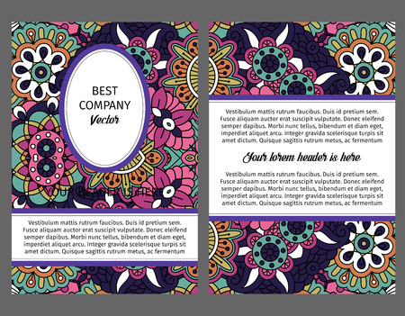victorian wallpaper: Brouchure design template for company with flowers and leaves in violet and pink bright colors, vector illustration