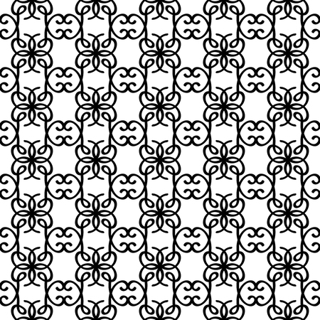 lineart: Outline black and white pattern with cute swirl elements. Vector illustration