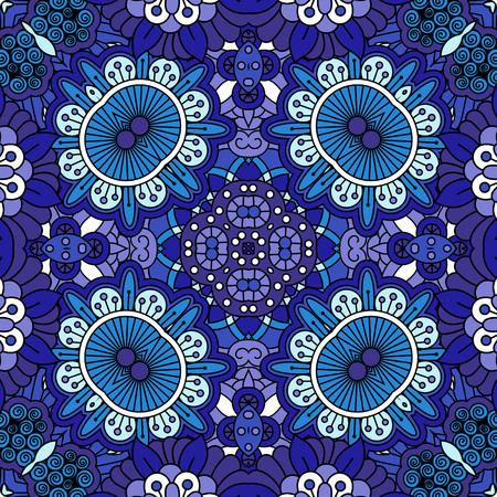 primula: Floral ethnic decorative doolde background in blue colors. Vector illustration Illustration