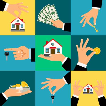 Koop huis handen vectorillustratie. De hand houdt huis of huissleutel en geld, geïsoleerde vlakte Stockfoto - 87703571