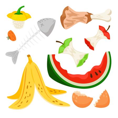 Organischer Abfall, Lebensmittelkompostsammlung lokalisiert auf weißem Hintergrund. Bananen- und Wassermelonenschale, Fischgräte und Apfelstumpf vector Illustration