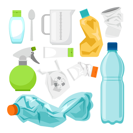 Plastic waste collection on white. Plastic bottles and another garbage, non-recyclable trash vector illustration