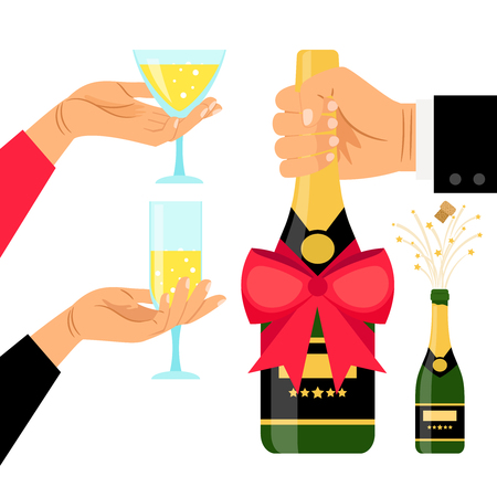 popping cork: Champagne bottle and drinking glasses in hands, vector illustration Illustration