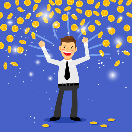 Winner money rain vector illustration. Man standing under the falling coins