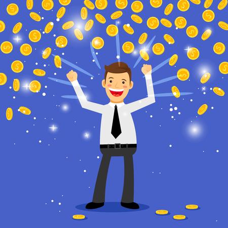 Winnaar geld regen vectorillustratie. Mens die zich onder de dalende muntstukken bevindt