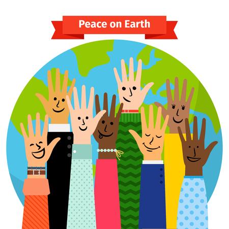 세계지도에 대해 발생하는 다른 민족 손으로 평화 개념 벡터 일러스트 레이션